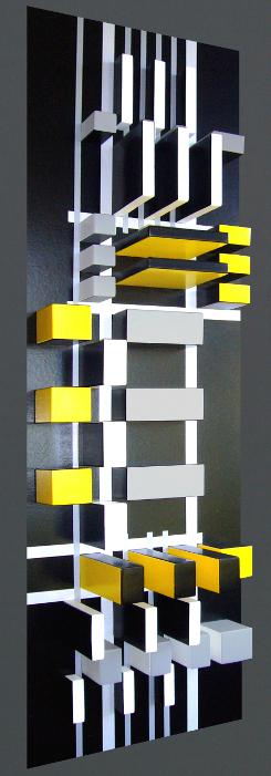 Manhattan at Night III, 2011 wood/acrylic, 170x52x22 cm